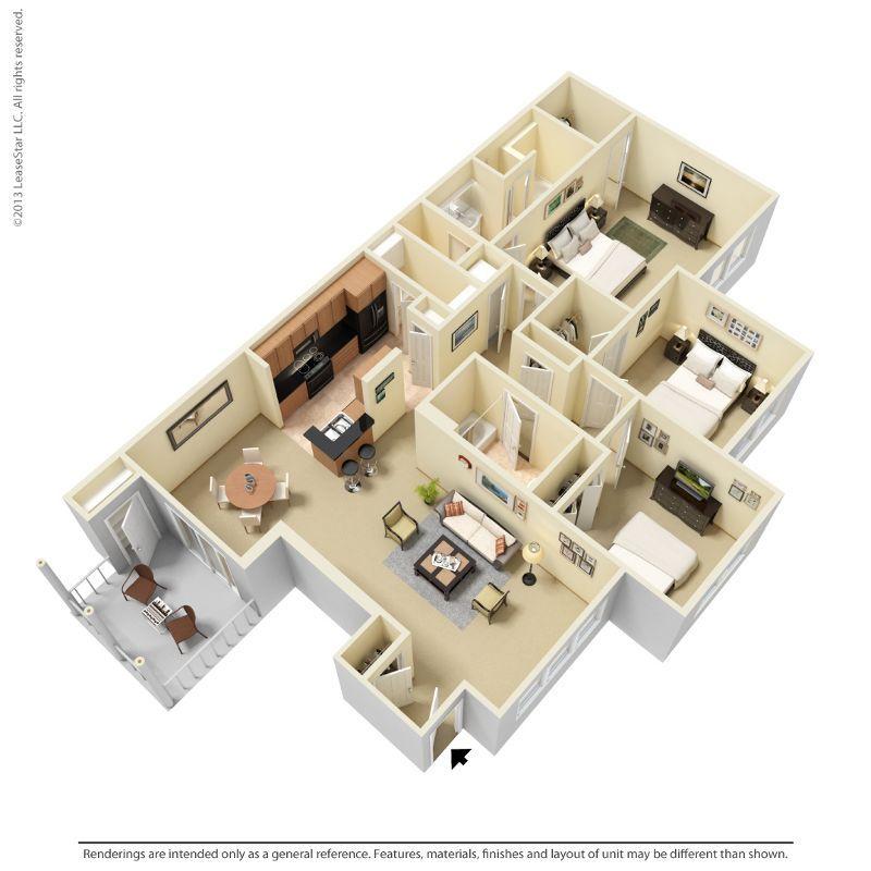 3 Bedrooms 2 Bathrooms Apartment for rent at Indigo Park in Baton Rouge, LA