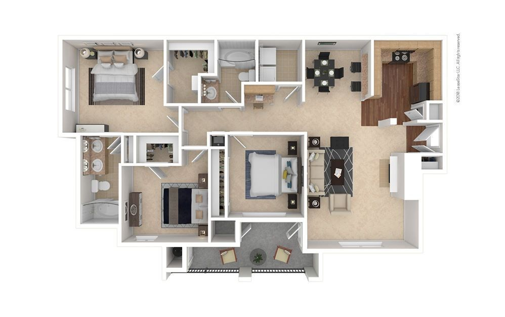 3 Bedrooms 2 Bathrooms Apartment for rent at Estates At Southpark Meadows in Austin, TX