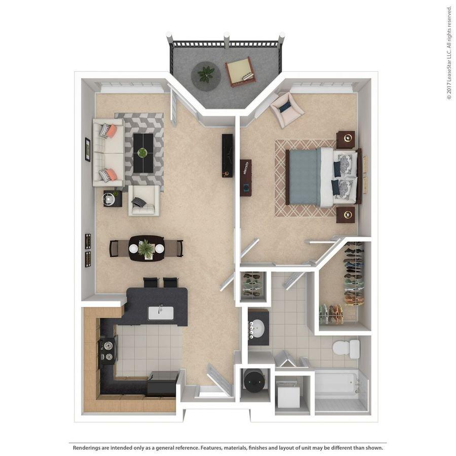 1 Bedroom 1 Bathroom Apartment for rent at Indigo Park in Baton Rouge, LA