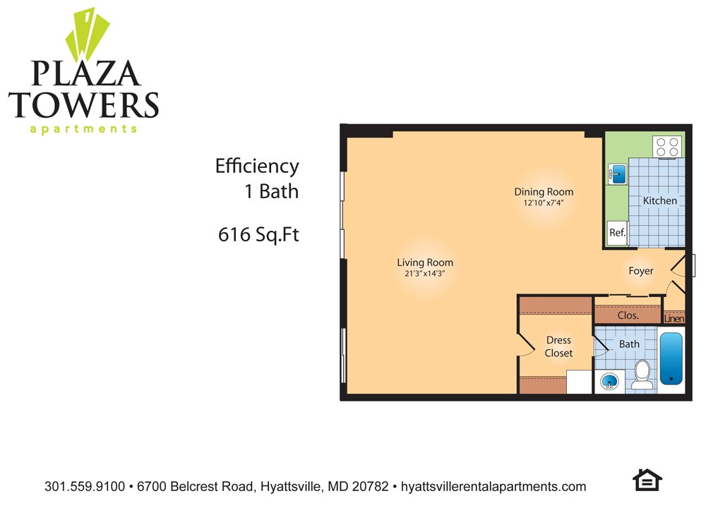 Studio 1 Bathroom Apartment for rent at Plaza Towers in Hyattsville, MD