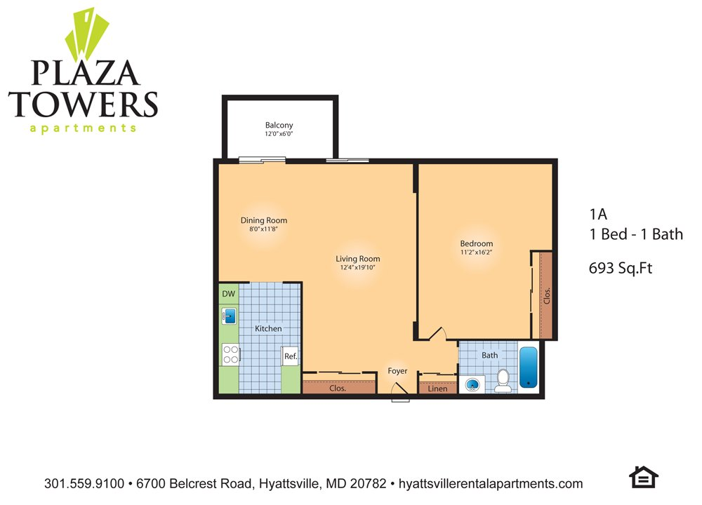 1 Bedroom 1 Bathroom Apartment for rent at Plaza Towers in Hyattsville, MD