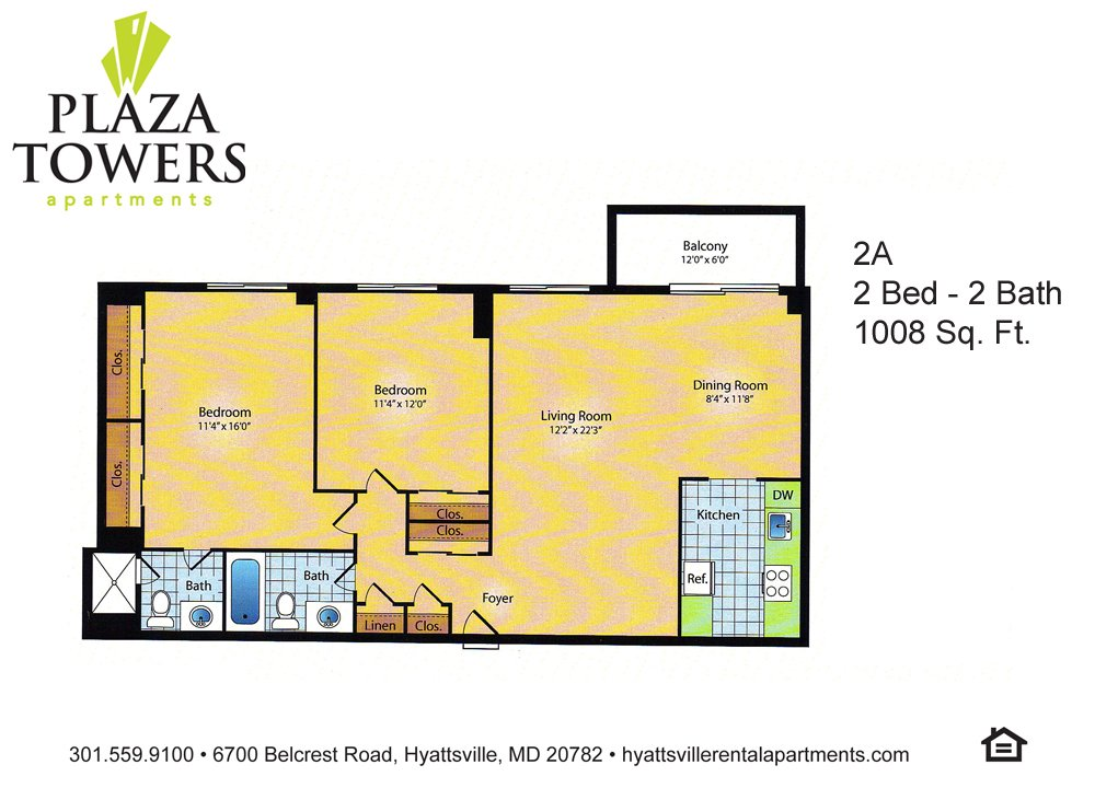 2 Bedrooms 2 Bathrooms Apartment for rent at Plaza Towers in Hyattsville, MD