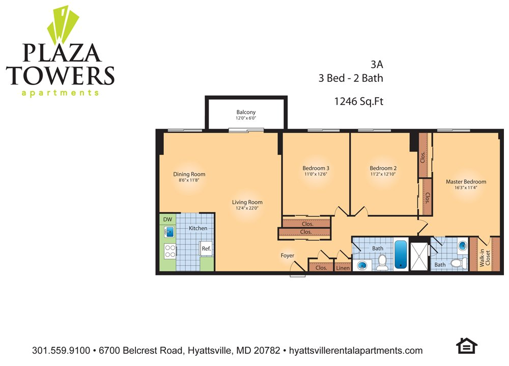 3 Bedrooms 2 Bathrooms Apartment for rent at Plaza Towers in Hyattsville, MD