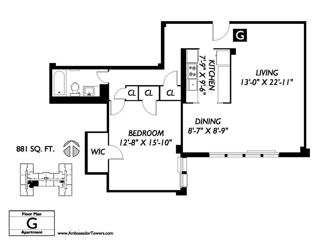 1 Bedroom 1 Bathroom Apartment for rent at Ambassador Towers in East Orange, NJ