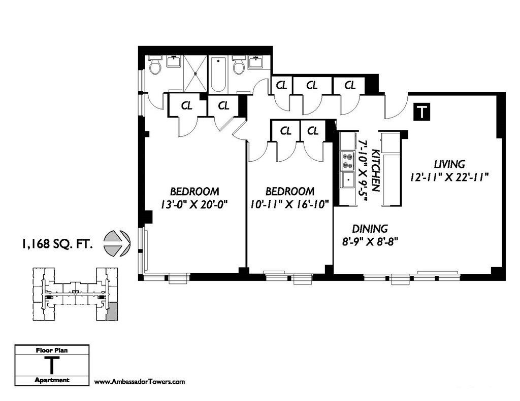 2 Bedrooms 2 Bathrooms Apartment for rent at Ambassador Towers in East Orange, NJ
