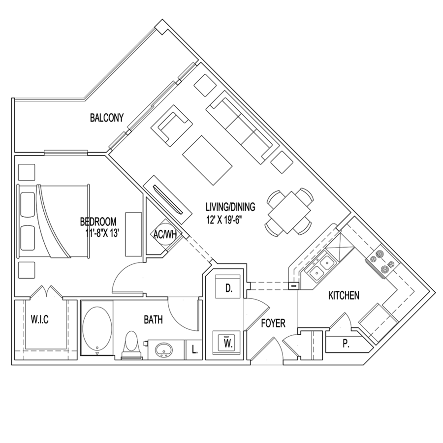 1 Bedroom 1 Bathroom Apartment for rent at Village At Palm Center in Houston, TX