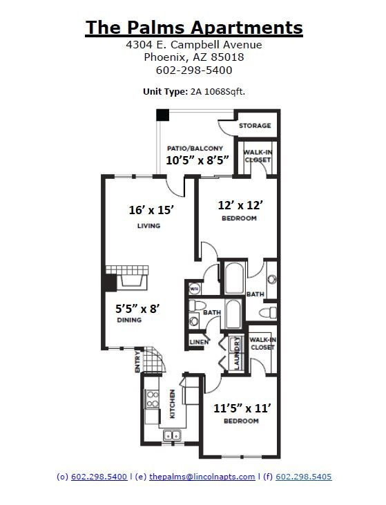 2 Bedrooms 2 Bathrooms Apartment for rent at The Palms in Phoenix, AZ