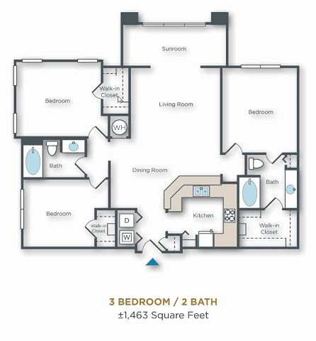 3 Bedrooms 2 Bathrooms Apartment for rent at Vue Park West in Peoria, AZ