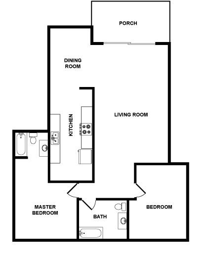2 Bedrooms 2 Bathrooms Apartment for rent at Pacific Rose Apartments in Los Angeles, CA