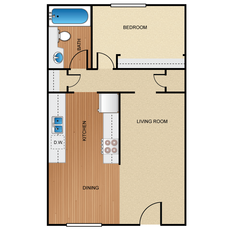 1 Bedroom 1 Bathroom Apartment for rent at Barcelona, Palm Lane, Seville Apartment Homes in Anaheim, CA