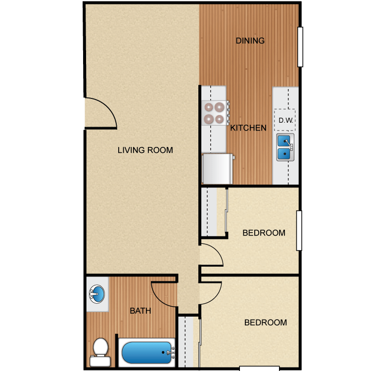 2 Bedrooms 1 Bathroom Apartment for rent at Barcelona, Palm Lane, Seville Apartment Homes in Anaheim, CA
