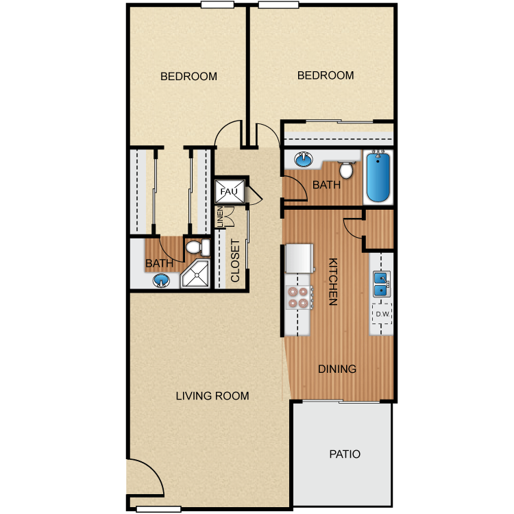 2 Bedrooms 2 Bathrooms Apartment for rent at Barcelona, Palm Lane, Seville Apartment Homes in Anaheim, CA