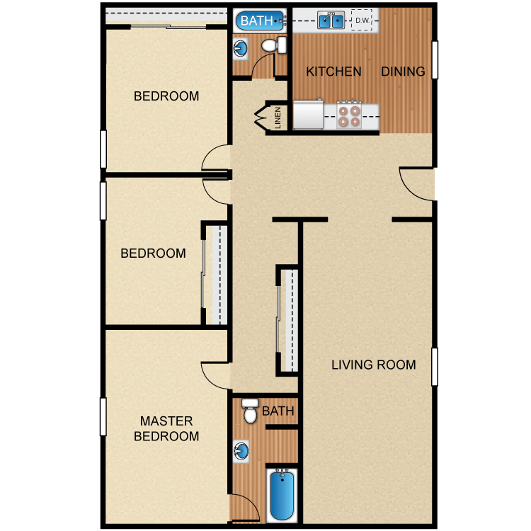3 Bedrooms 2 Bathrooms Apartment for rent at Barcelona, Palm Lane, Seville Apartment Homes in Anaheim, CA