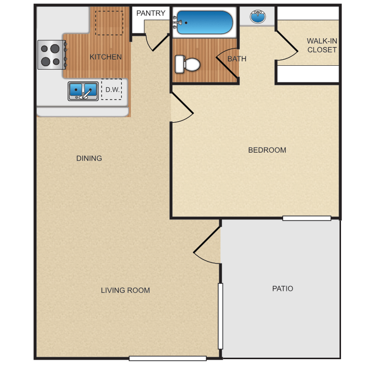 1 Bedroom 1 Bathroom Apartment for rent at Eastwood Apartment Homes in Anaheim, CA
