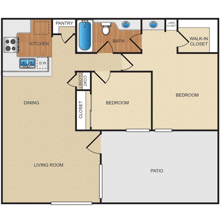 2 Bedrooms 1 Bathroom Apartment for rent at Eastwood Apartment Homes in Anaheim, CA
