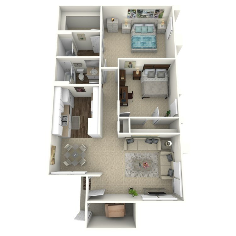 2 Bedrooms 2 Bathrooms Apartment for rent at Country Woods Apartment Homes in Brea, CA