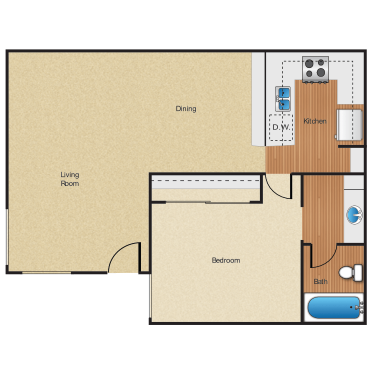 1 Bedroom 1 Bathroom Apartment for rent at Five Coves Apartment Homes in Anaheim, CA