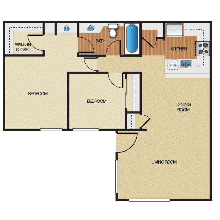 2 Bedrooms 1 Bathroom Apartment for rent at Five Coves Apartment Homes in Anaheim, CA