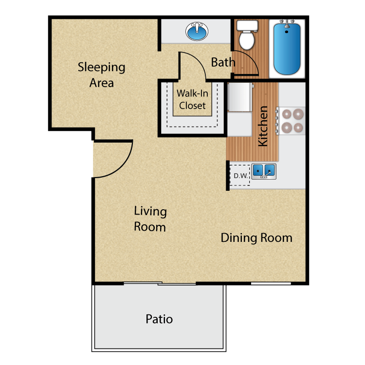 Studio 1 Bathroom Apartment for rent at Maplewood Apartment Homes in Brea, CA