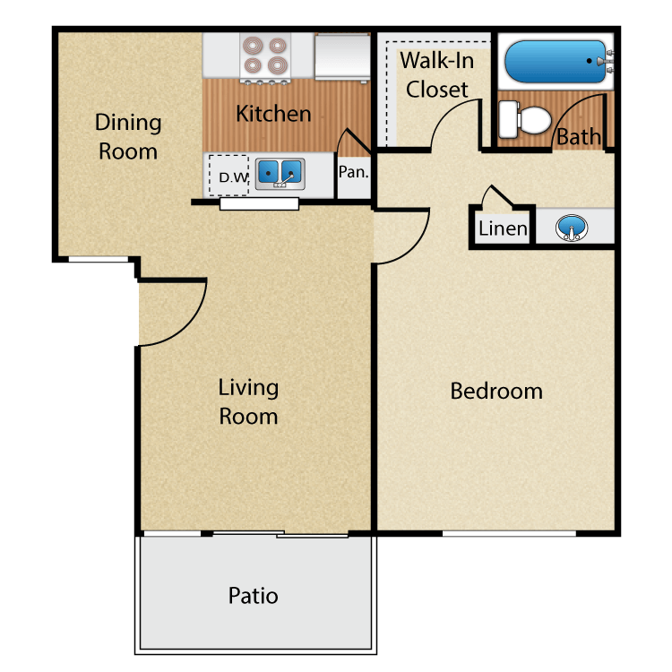 1 Bedroom 1 Bathroom Apartment for rent at Maplewood Apartment Homes in Brea, CA
