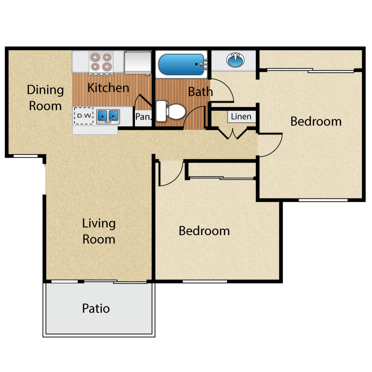 2 Bedrooms 1 Bathroom Apartment for rent at Maplewood Apartment Homes in Brea, CA