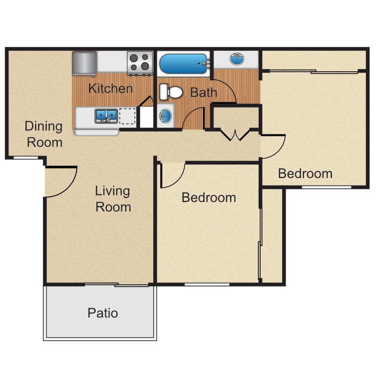 2 Bedrooms 1 Bathroom Apartment for rent at Monte Verde Apartment Homes in Anaheim, CA