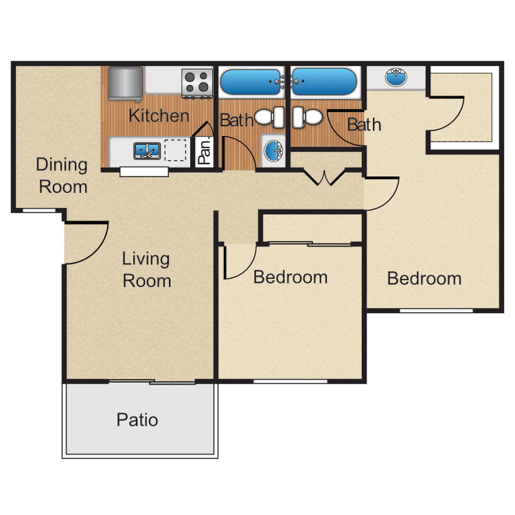 2 Bedrooms 2 Bathrooms Apartment for rent at Monte Verde Apartment Homes in Anaheim, CA