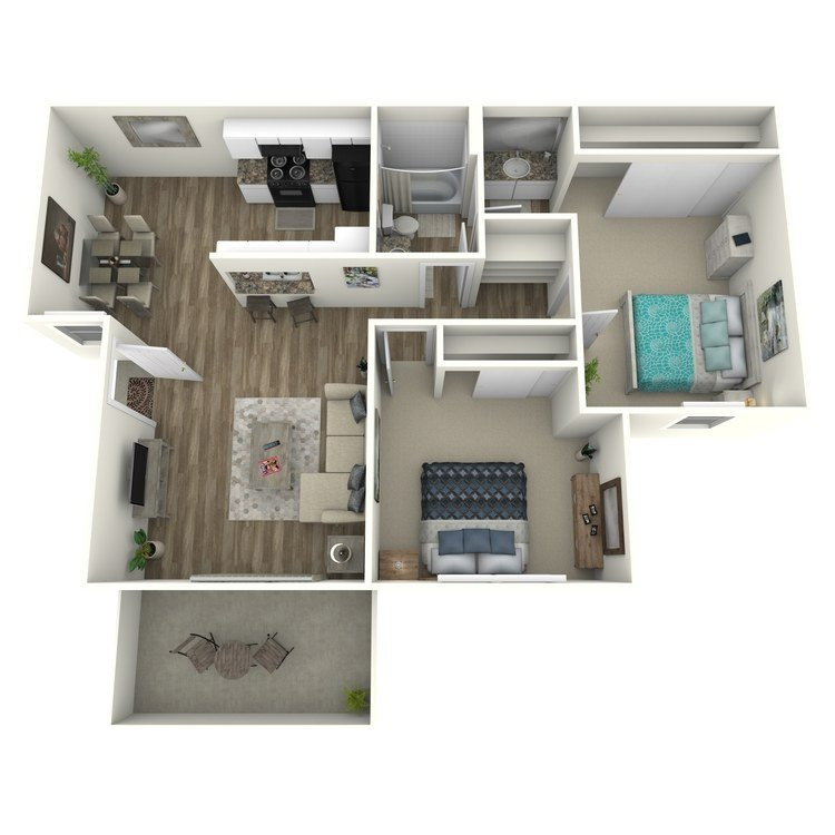 2 Bedrooms 1 Bathroom Apartment for rent at Raintree Apartment Homes in Brea, CA