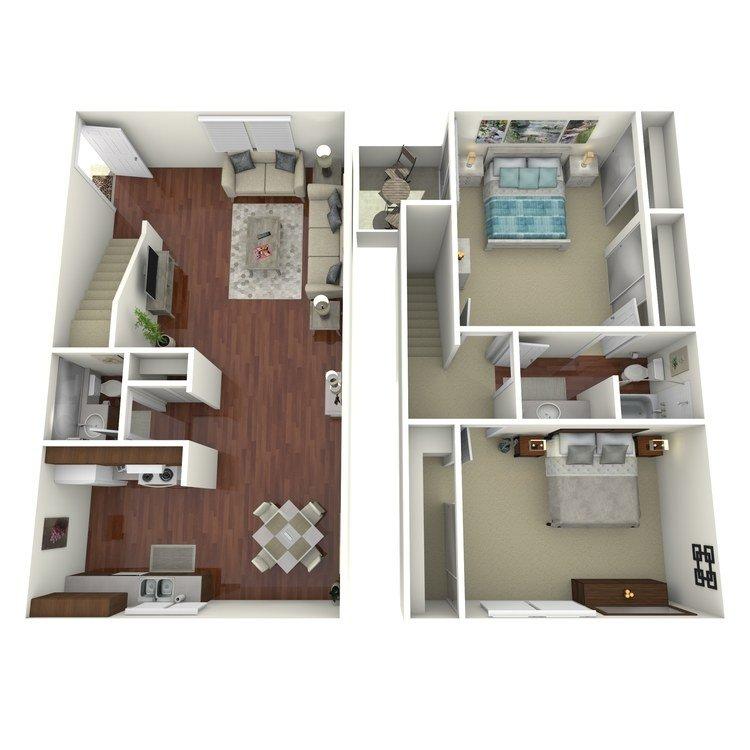 2 Bedrooms 1 Bathroom Apartment for rent at Ridgewood Village Apartment Homes in Orange, CA