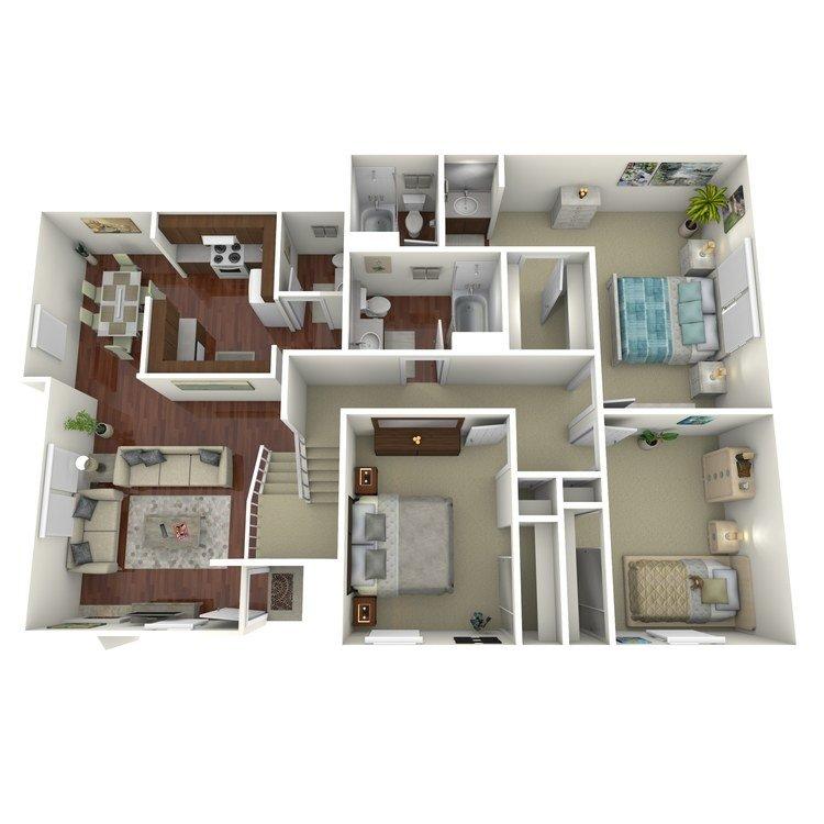 3 Bedrooms 2 Bathrooms Apartment for rent at Ridgewood Village Apartment Homes in Orange, CA