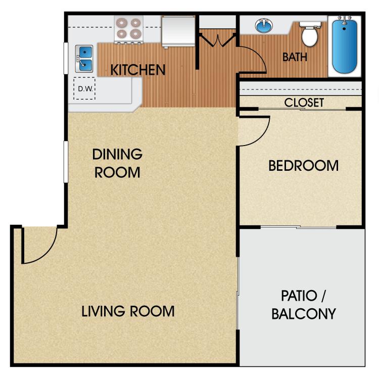 1 Bedroom 1 Bathroom Apartment for rent at Sage Park Senior Apartment Homes in Anaheim, CA