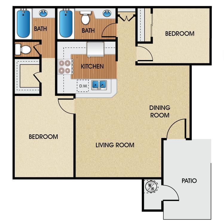 2 Bedrooms 2 Bathrooms Apartment for rent at Sage Park Senior Apartment Homes in Anaheim, CA