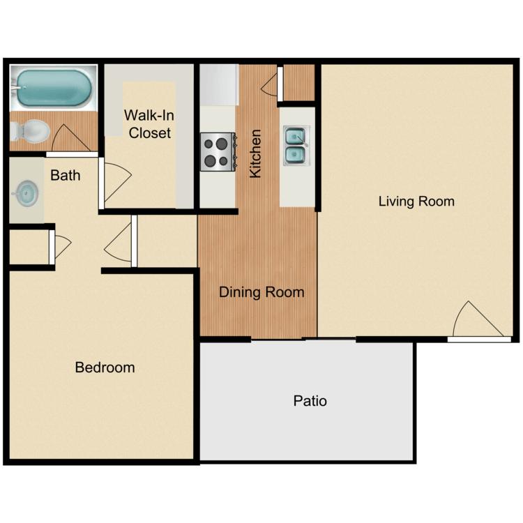 1 Bedroom 1 Bathroom Apartment for rent at Tamarack Woods Apartment Homes in Brea, CA