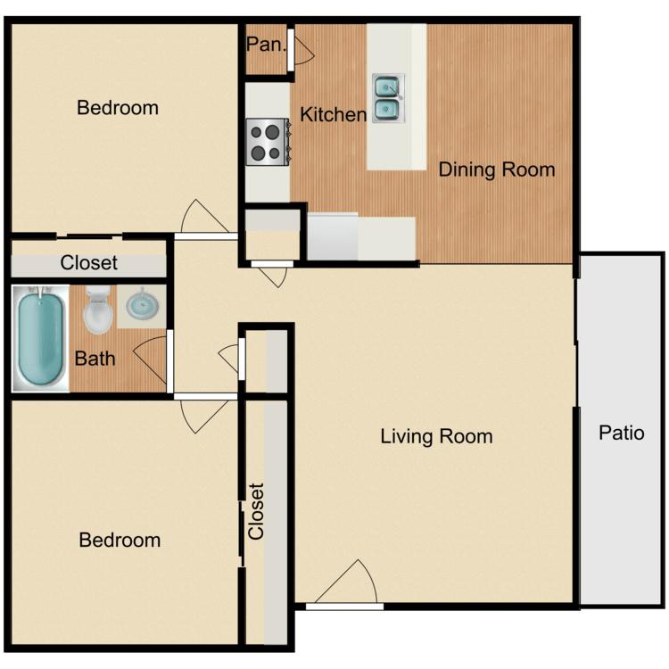 2 Bedrooms 1 Bathroom Apartment for rent at Tamarack Woods Apartment Homes in Brea, CA