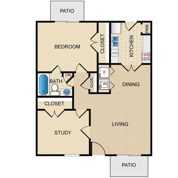 1 Bedroom 1 Bathroom Apartment for rent at Rollingwood in Houston, TX