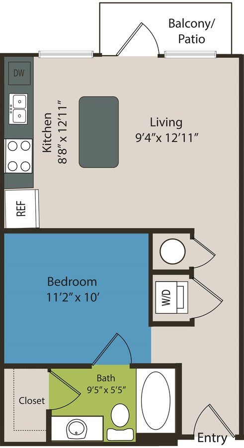 Studio 1 Bathroom Apartment for rent at Waterford Rino in Denver, CO