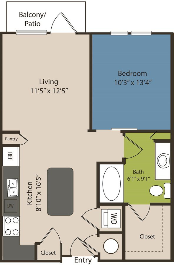 1 Bedroom 1 Bathroom Apartment for rent at Waterford Rino in Denver, CO
