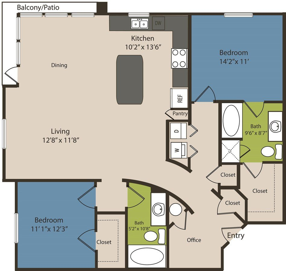 2 Bedrooms 2 Bathrooms Apartment for rent at Waterford Rino in Denver, CO