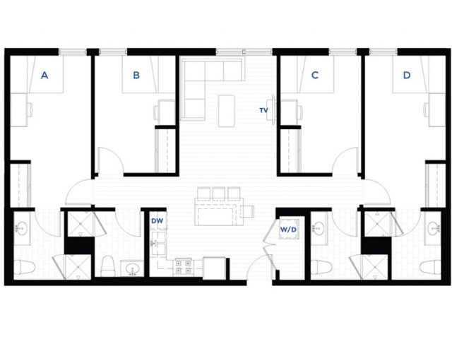 4 Bedrooms 4+ Bathrooms Apartment for rent at Student Housing - West Quad in Champaign, IL