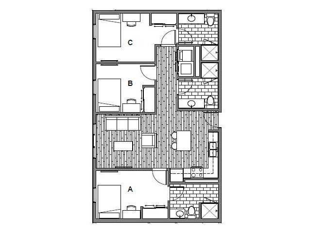 3 Bedrooms 3 Bathrooms Apartment for rent at Onyx Student Living in Tallassee, FL