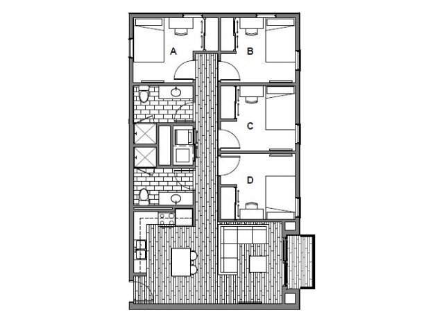 4 Bedrooms 2 Bathrooms Apartment for rent at Onyx Student Living in Tallassee, FL