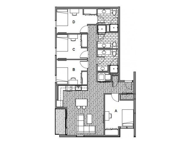 4 Bedrooms 3 Bathrooms Apartment for rent at Onyx Student Living in Tallassee, FL