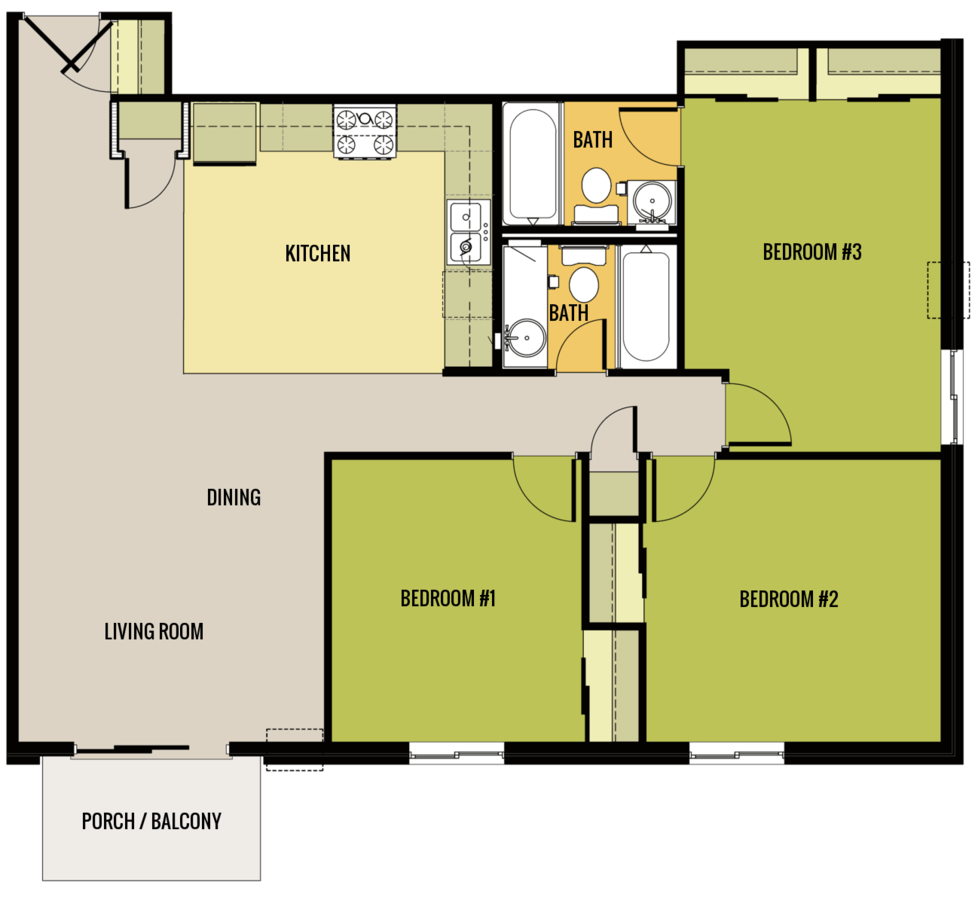 3 Bedrooms 2 Bathrooms Apartment for rent at Parkcrest Apartments in Madison, WI