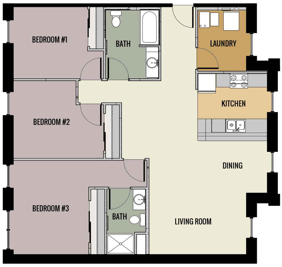 3 Bedrooms 3 Bathrooms Apartment for rent at Lawler School Lofts in Prairie Du Chien, WI