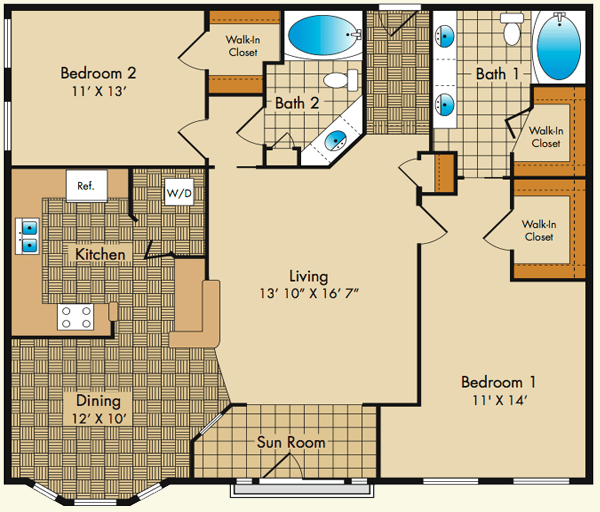 2 Bedrooms 2 Bathrooms Apartment for rent at Dobson Mills in Philadelphia, PA