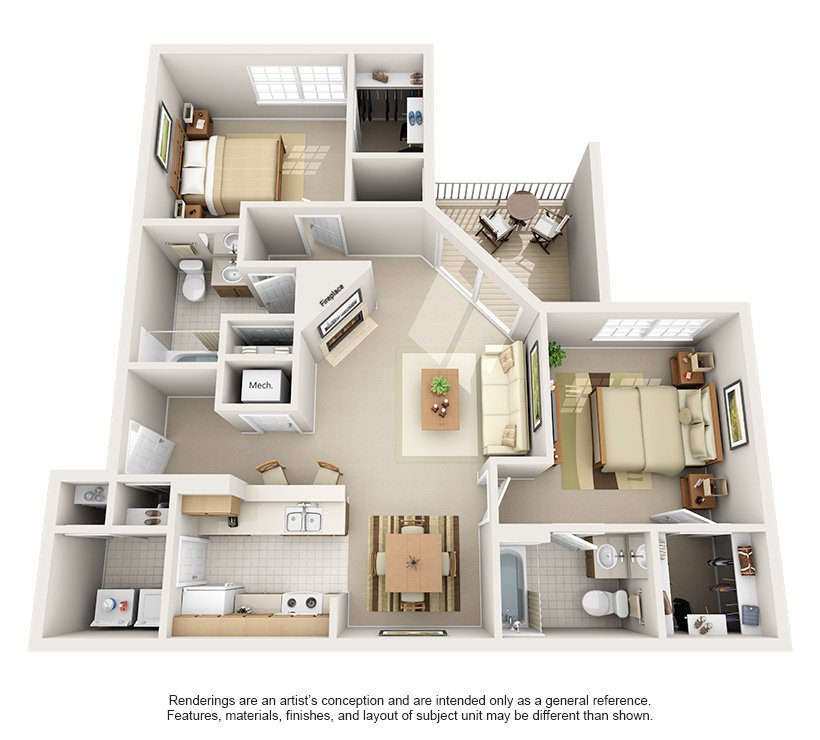 2 Bedrooms 2 Bathrooms Apartment for rent at Harrison Place in Indianapolis, IN