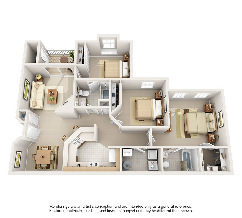 3 Bedrooms 2 Bathrooms Apartment for rent at Harrison Place in Indianapolis, IN