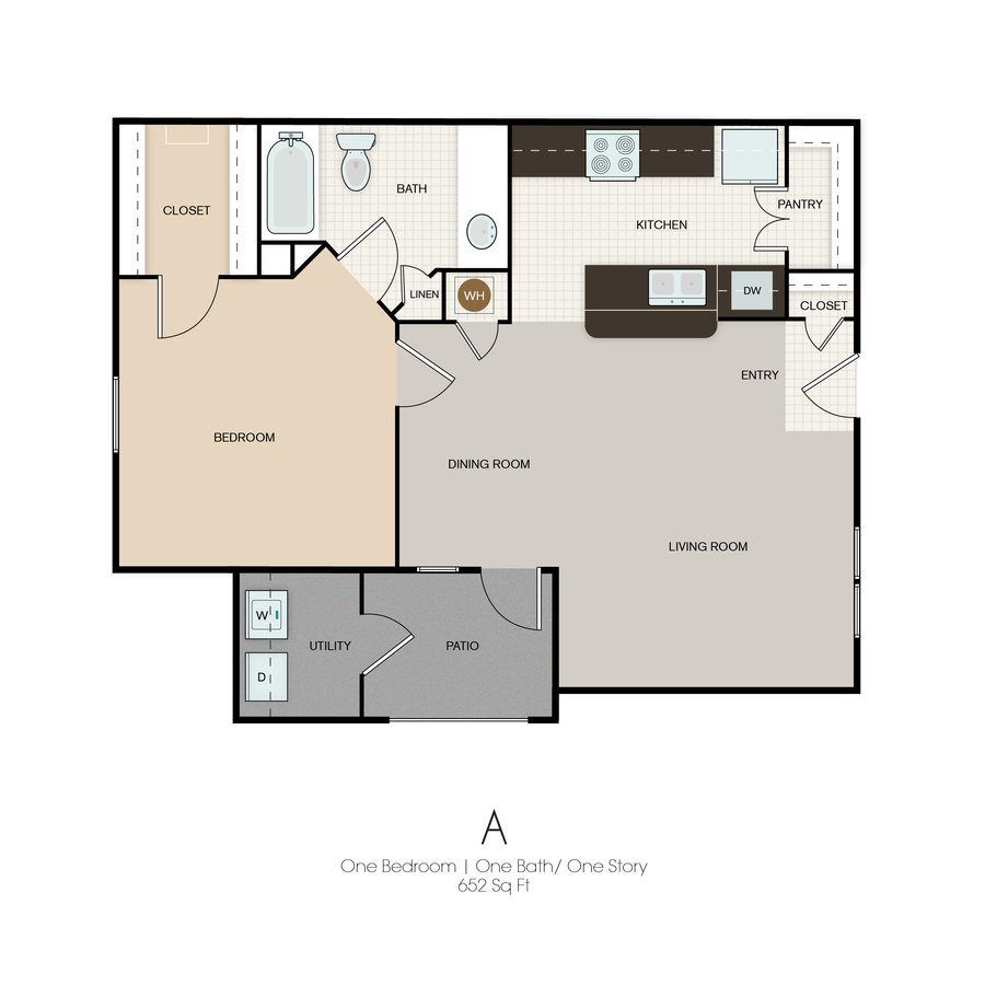 1 Bedroom 1 Bathroom Apartment for rent at Park Yellowstone Townhomes in Houston, TX