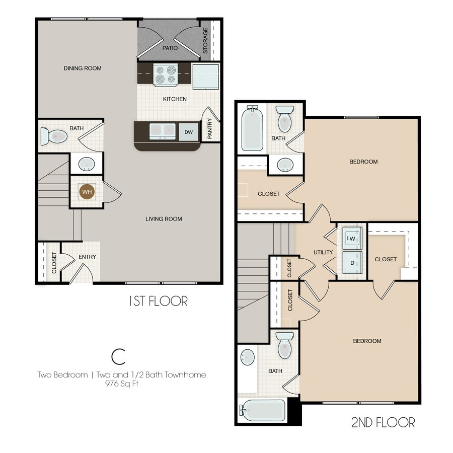 2 Bedrooms 2 Bathrooms Apartment for rent at Park Yellowstone Townhomes in Houston, TX