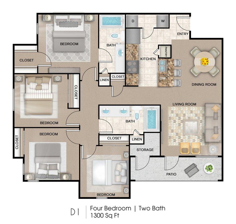 4 Bedrooms 2 Bathrooms Apartment for rent at Palo Alto Apartment Homes in San Antonio, TX